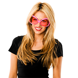 Model Wearing Pink Party Glasses With Diamantes