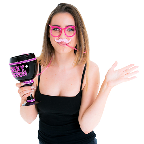 Drinking Straw Glasses in Pink In Packaging