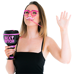 Model drinking from the Pink Straw glasses