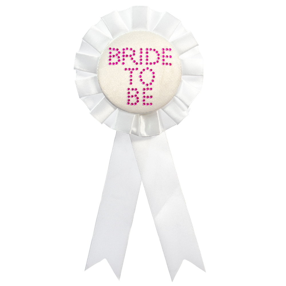 Product Photo Of White Bride To Be Rosette With Diamantes