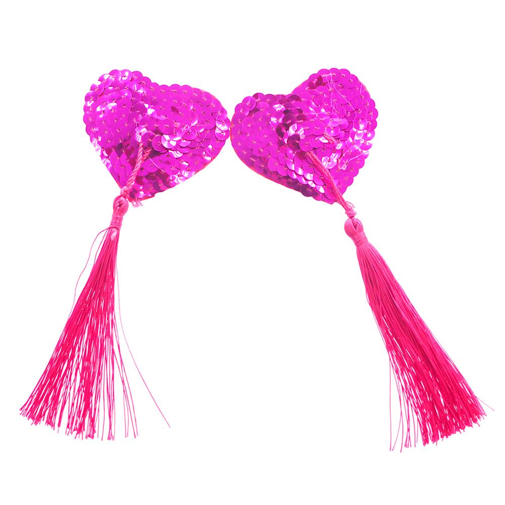 Fantastic Pink Sequin Heart Shaped Nipple Tassels