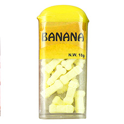 An 18 gram pack of Banana flavoured sweets