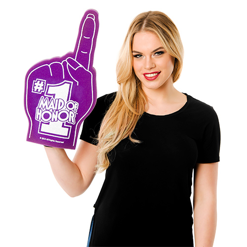 Model Wearing Number 1 maid of Honour Foam Hand
