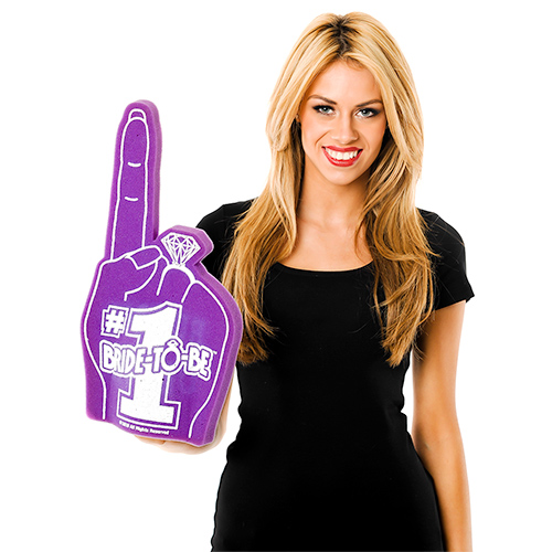 Model Wearing Bride To Be Foam Finger