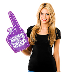 Model Wearing Bride To Be Foam Finger On White Background