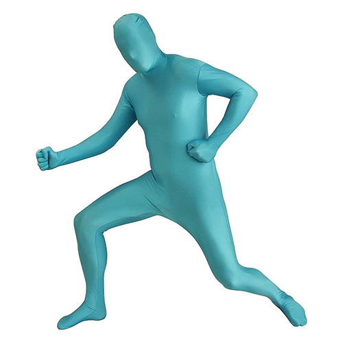 Turquoise Morphsuit In Front Of White Background