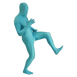 Turquoise Morphsuit Lifting One Leg Up
