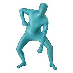 Turquoise Morphsuit Punching The Ground Stance