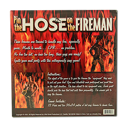 Hilarious Pin The Hose on The Fireman Game Back Of Packaging
