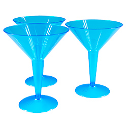 Blue Neon Martini Glasses