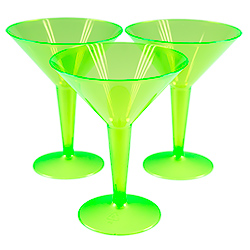 Green Neon Martini Glasses