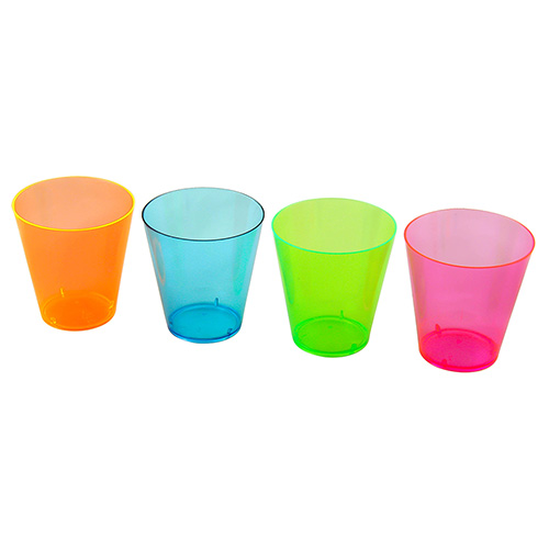 Multi Coloured Shot Glasses On White Background