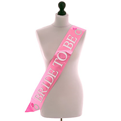 Pink Bride To Be Sash With Silver Text