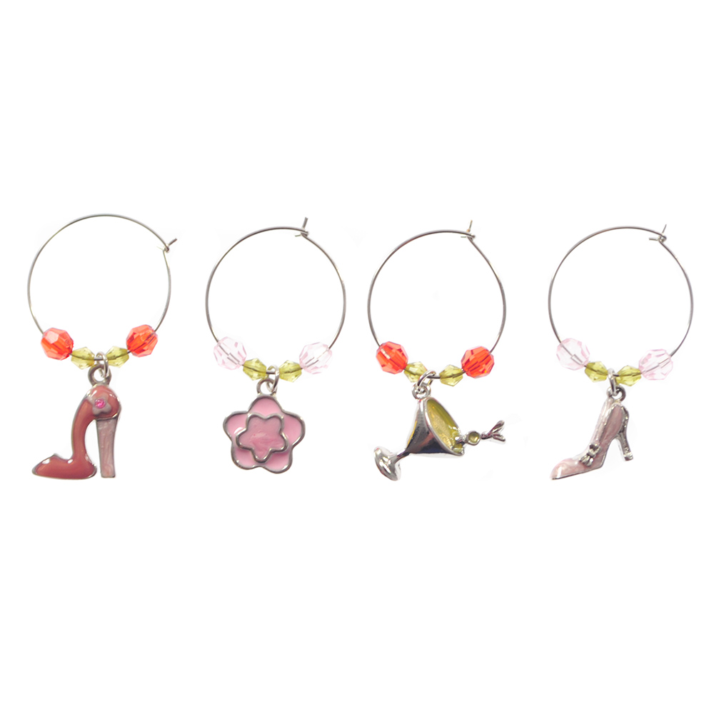 Four charms to attach to wine glasses