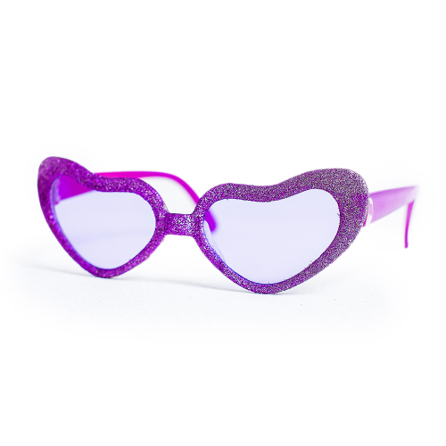 Purple Hearts Party Glasses On White Background