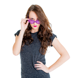 Purple Hearts Party Glasses On Female Model