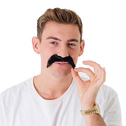 Model Wearing Thick Black Moustache