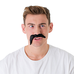 A cross eyed model wearing the tash