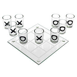 Tic Tac Toe Shot Game Laid Out On White Background