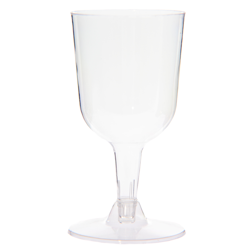 Clear Plastic Wine Glasses On White Background