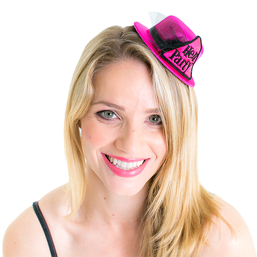 Small Pink and Black Hen Party Hat On White Background