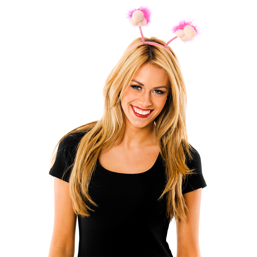 Model Wearing Plush Willy Boppers With Hot Pink Trim