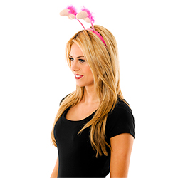 Side View Of Model Wearing Plush Willy Boppers With Hot Pink Trim