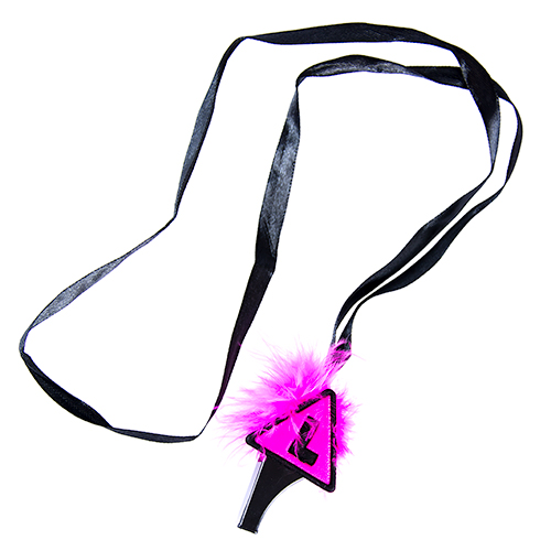 Product Shot Of Pink and Black L Plate Whistle