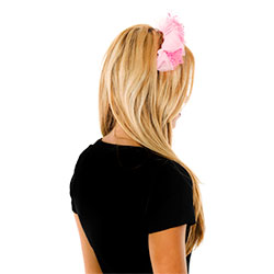 Back View Pink Headband With Net Flowers