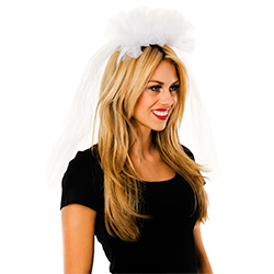 Side View Of Veil on Headband Worn By Model
