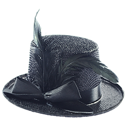 Mini Black Top Hat With feather Product Image