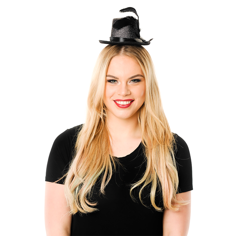 Model Wearing Mini Black Top Hat With feather