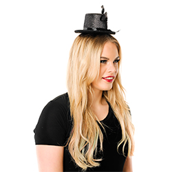 Mini Black Top Hat With feather Side View