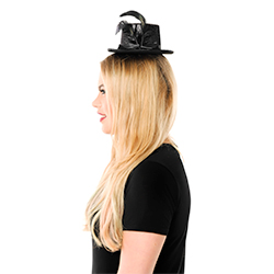 Side View Mini Black Top Hat With feather