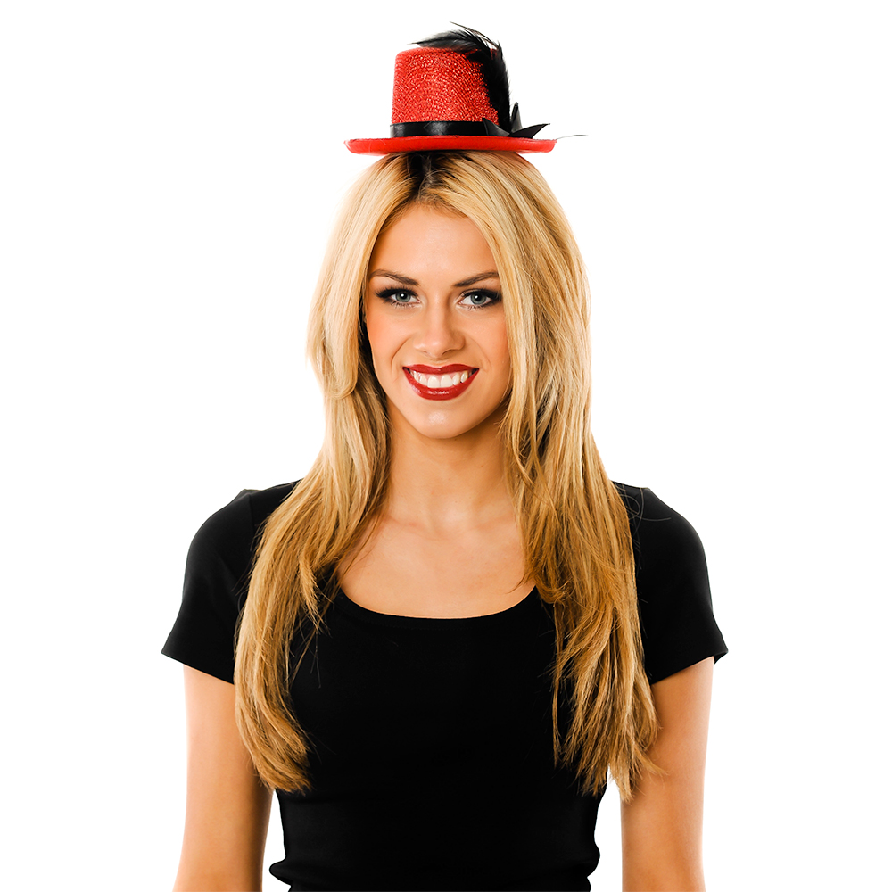 Model Wearing Mini Red Top Hat
