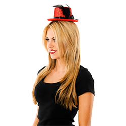 Side View Of Model Wearing Mini Red Top Hat