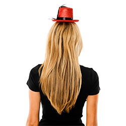 Back View Of Model Wearing Mini Red Top Hat