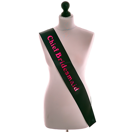 Shiny Black Chief Bridesmaid Sash