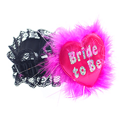Hot Pink Shiny Heart Bride To Be Garter Product View
