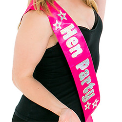 A model wearing the sash and smiling