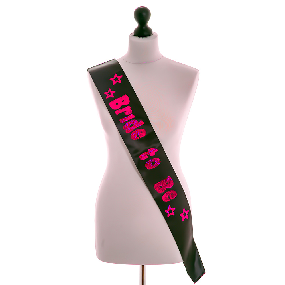 Black and Pink Bride To Be Sash