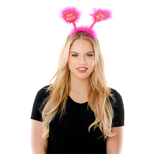 Model Wearing Pink Shiny Heart Hen Party Boppers
