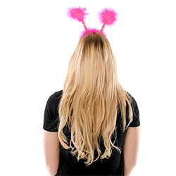 Back View Of Pink Shiny Heart Hen Party Boppers