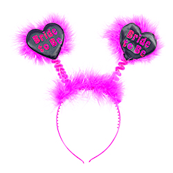 Black Shiny Heart Bride To Be Boppers
