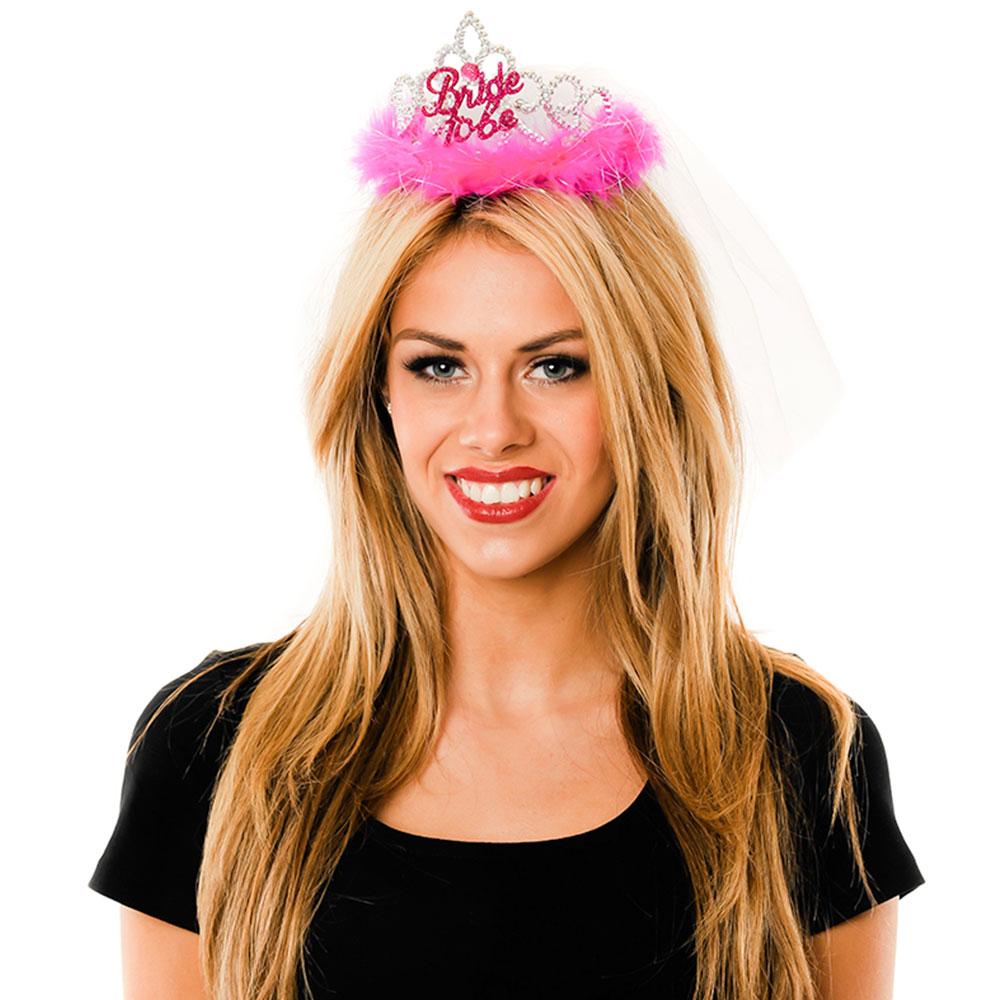 Front Facing Pink Bride to Be Tiara