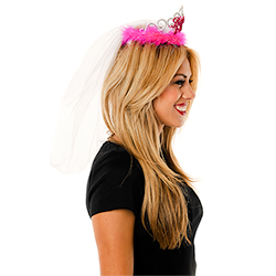 Side View Pink Bride to Be Tiara