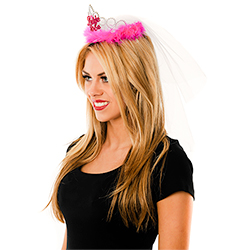 Model Wearing Pink Bride to Be Tiara