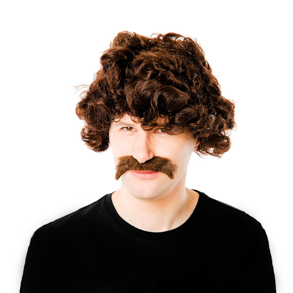 Retro Wig and Moustache Kit