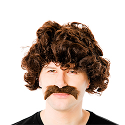 Retro Wig and Moustache Kit