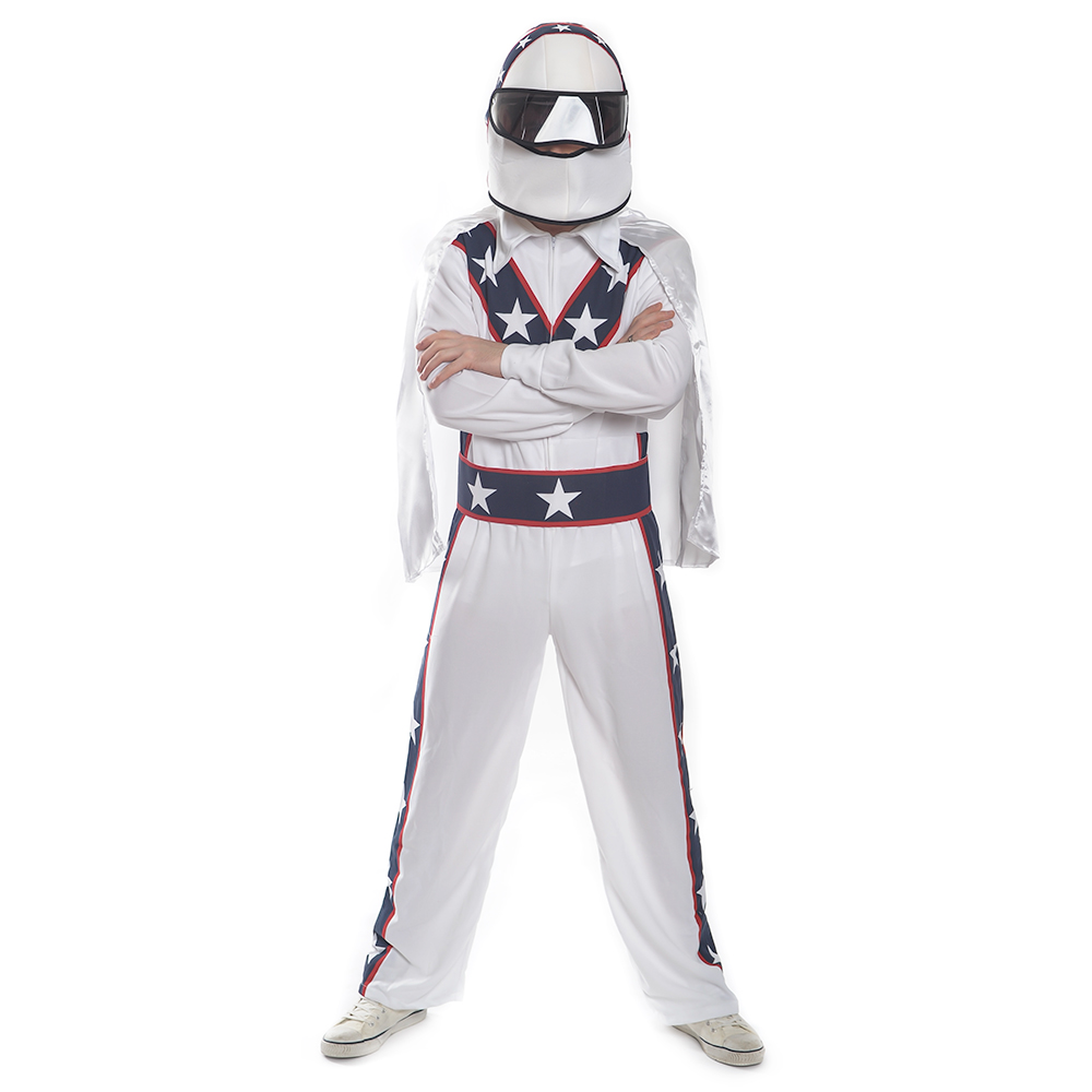 Front Facing White, Blue and Red Stuntman Costume
